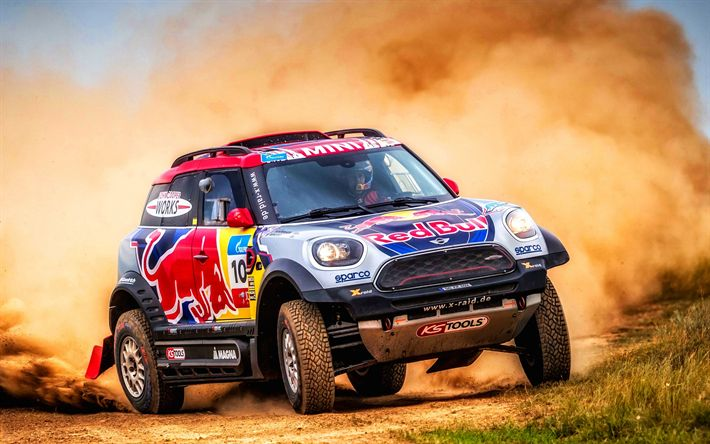 Download wallpapers MINI John Cooper Works, X Raid, desert, dunes, rally car, SilkWay Rally, Mini