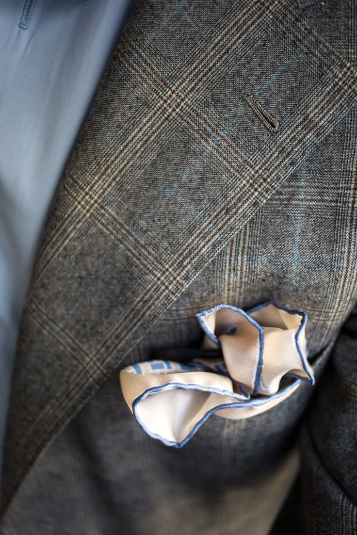 Mens jacket pocket handkerchief - Sartoria Pino Peluso Bespoke Suit Mary Frittolini Bespoke Shirt Corneliani Breast Pocket Handkerchief