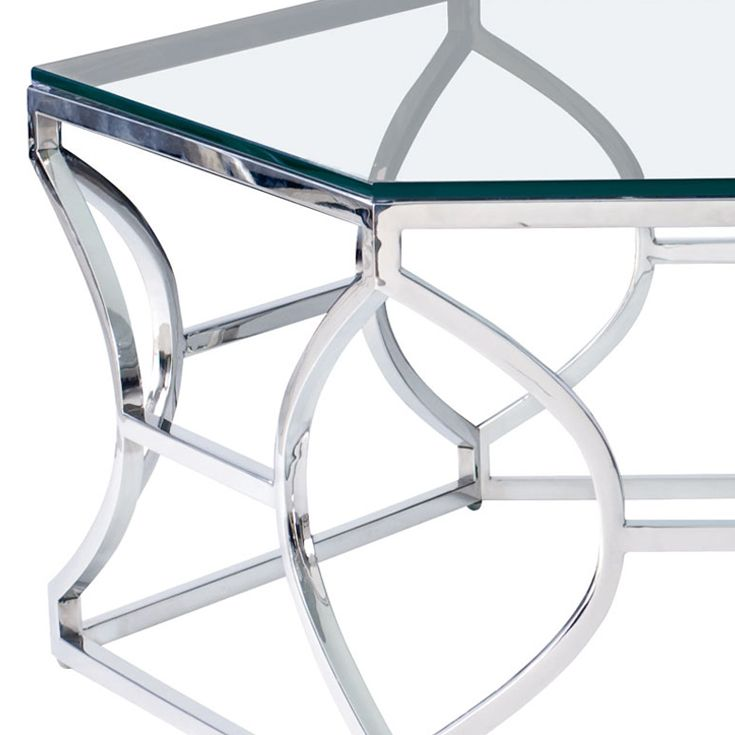 Bernhardt Interiors. Argent Cocktail Table, mirror polished stainless steel, detail