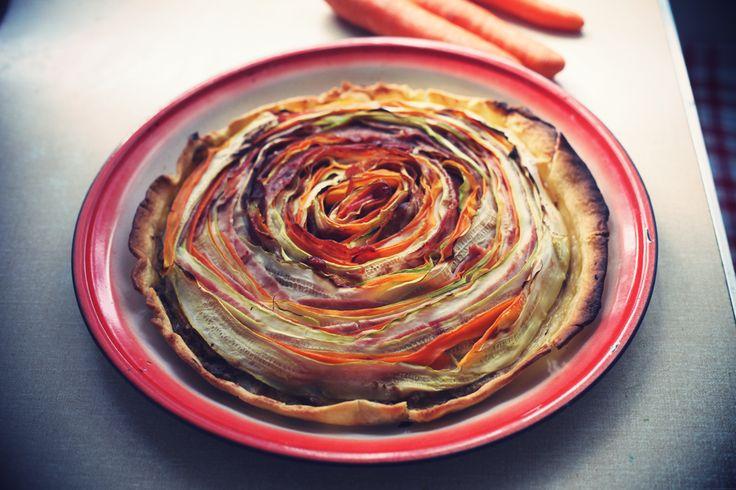 Une tarte fleur aux légumes