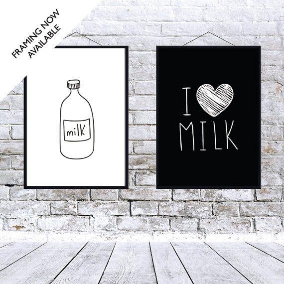 Kunst aan de muur melk wordt afgedrukt  2 door Hatchesandmatches