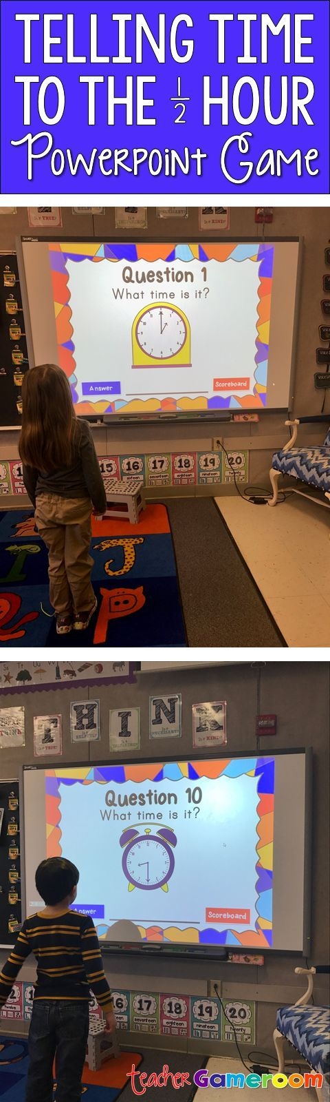 Tell time to the half hour Smartboard game. Great for 1st grade. CCSS aligned.