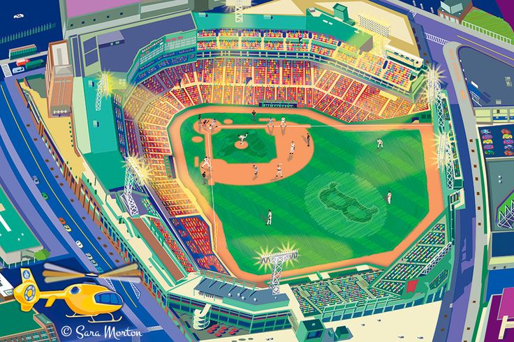 Vector Painting of #FenwayPark at night in #Boston #MA ; Features a #BostonRedSox #Baseball #Game in progress with the #RedSox taking the field. Features  #Aerial View of Fenway Park, #YawkeyWay, Brookline Ave, Van Ness Street and Lansdowne Street.