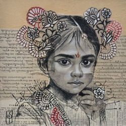 mixed media portraits using book pages, crayon and aquarelle