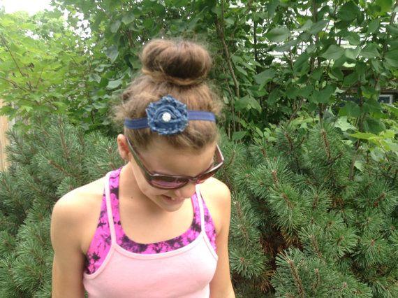 Denim headband for teens little girls and babies