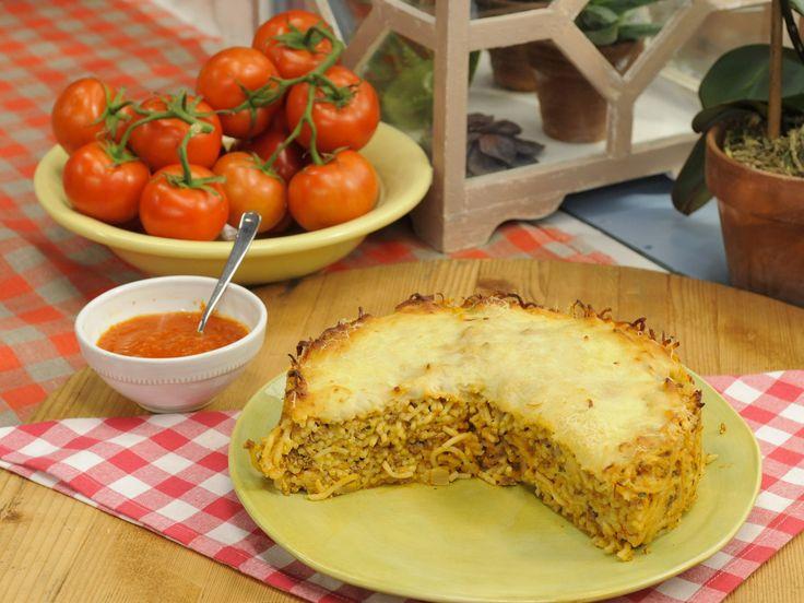 Spaghetti Pie recipe from Katie Lee via Food Network
