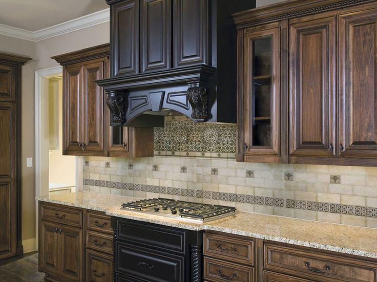 Kitchen, Kitchen Colors Schemes With Modern Wooden Kitchen Hood And Ceramic Backsplash  Tile Design ~ Lovely Kitchen Colors Schemes Ideas Added With ...