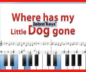 """Learn how to play """"Where Has My Little Dog Gone"""" - free online piano for beginners"""