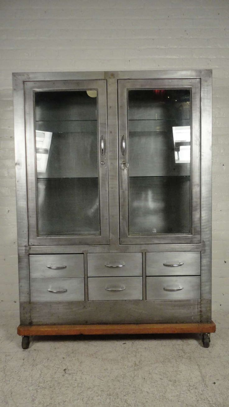 1stdibs Metal Gl Front Hutch On Casters