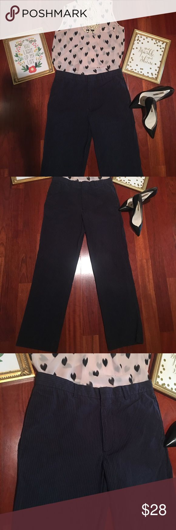 J Crew slacks 33x32 women's pinstriped slacks J Crew slacks in excellent condition. Never worn. New without tags. I lost weight and now can't fit into. Beautiful slacks. Offers welcome and all purchases receive free gift 🎁! J. Crew Pants Trousers