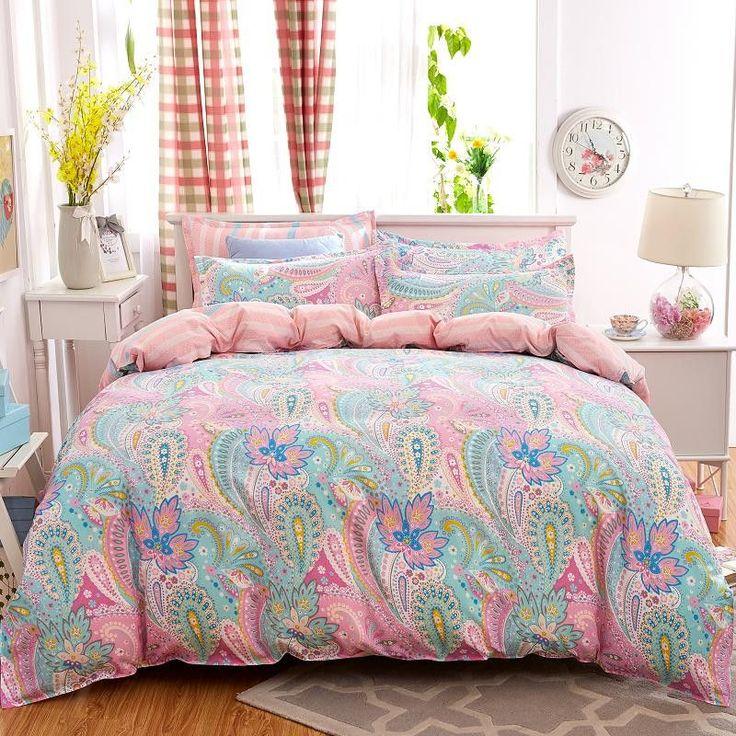 4pcs bohemian bedding set soft polyester bed linen duvet cover pillowcases bed sheet sets home textile