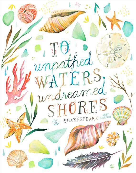 Undreamed Shores Art Print | Hand Lettered Quote | Ocean Quote | Watercolor Wall Art | Marine Letter