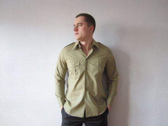 Nos Vintage Khaki Green Shirt Mens Button Up Uniform Shirt