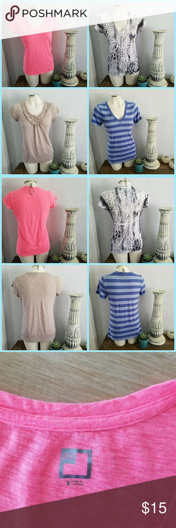❣Lot of 4 cute tees! No stains or rips! Regardless of tags, all shirts fit medium to large torsos. Tees from left to right are:  1. Solid pink - JC Penny, size small (runs medium); 2. Wrinkly animal print black & white - Maurices, size XL (runs large);  3. Sold grey with sequence collar - Maurices, size L (tag missing) 4. Blue stripes - Old Navy Vintage, size medium Tops Tees - Short Sleeve