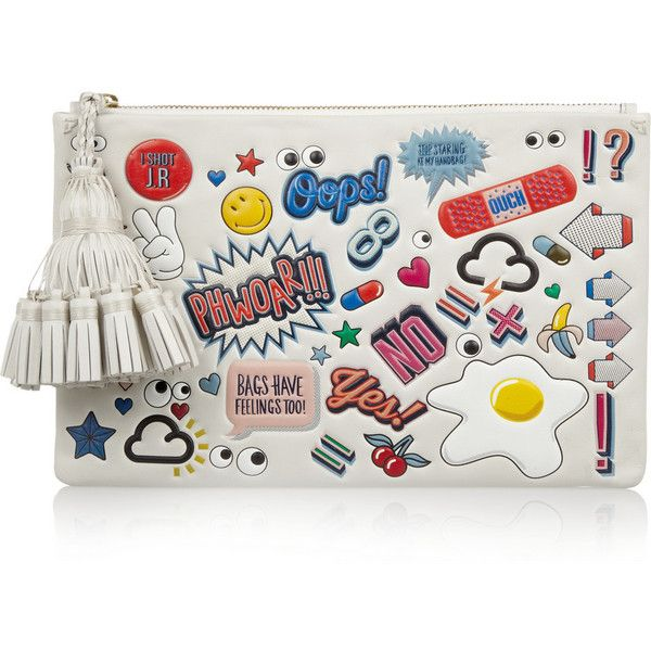 Anya Hindmarch Stickered-Up Georgiana embossed leather clutch found on Polyvore…