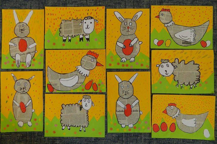 Na tvrdý papír děti nalepily tuhým lepidlem žlutý barevný papír. Z proužku zeleného bar. papíru si vystříhaly trávu, nalepily. Z novin si vybraly část, kde nejsou fotky, ani barevné texty, pouze černý text a černým fixem nakreslily jednotlivé díly zvířat (tělo, hlavu). Na bílý papír fixem namalovaly další části zvířat (křídlo, uči, tlapky, nohy, u ovce hlavu,...) Z červeného bar. papíru hřebínek slepice, vejce, zobák,... Vše vystřihly a naskládaly na podklad a potom nalepily. Barevné…