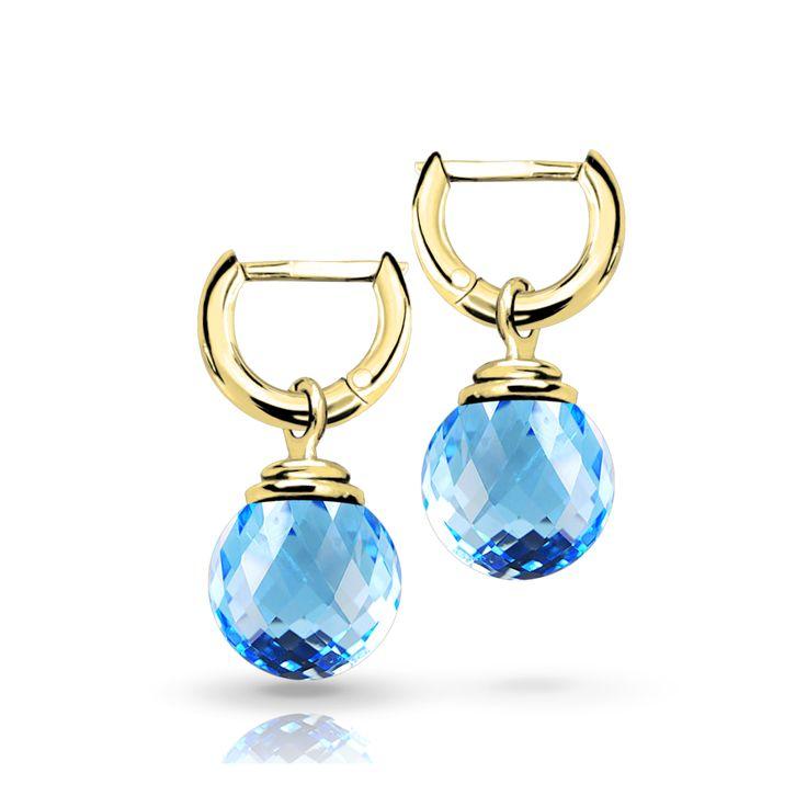 Коллекция Candy. Серьги колечки из желтого золота со съемными подвесами из голубого топаза. Стоимость 500$ #jewelry #artauro #earrings #kuntcevoplaza