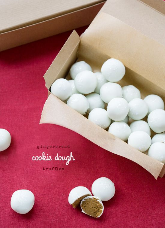 (Eggless!) Gingerbread Cookie Dough Truffles with White Chocolate Coating