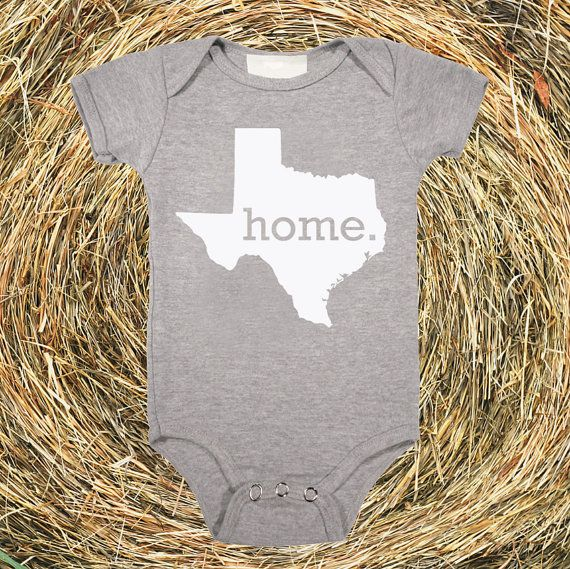 Texas Home State Unisex Baby One Piece Bodysuit - girls or boys on Etsy, $17.95