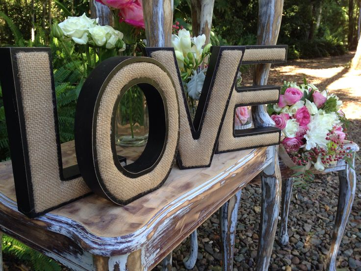 Gorgeous LOVE letters, ideal props to enhance a vintage, rustic or garden themed wedding.