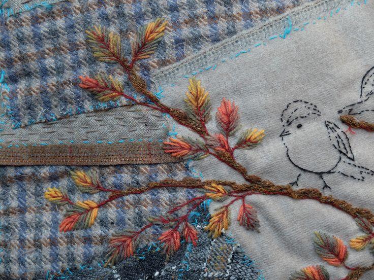 SégoLaine Schweitzer Coussin Oiseaux sur la branche (détail)