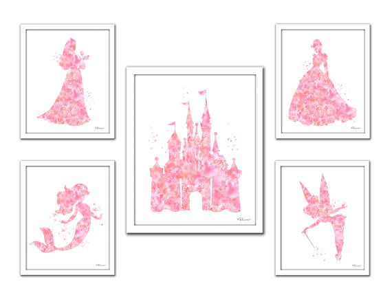 When you buy this set you get 5 prints for the price of 3! You can substitute any of the princesses for any other you see in my shop. Also this set of prints can be done in any color/pattern you find in my shop. Just send me a message with a custom request. This is a print from my