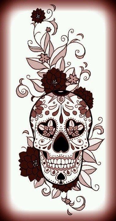 sugar skull upper arm tattoo for women - Google Search