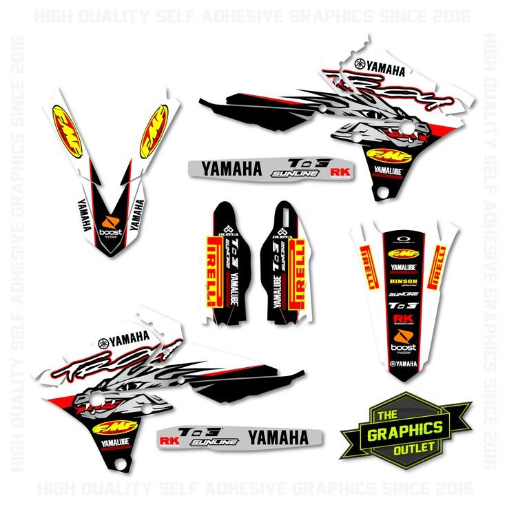 YAMAHA YZF250 / YZF450 2014 -16 - TROY FACTORY REPLICA - SPLIT KIT MOTOCROSS GRAPHICS - WHITE & BLACK VERSION