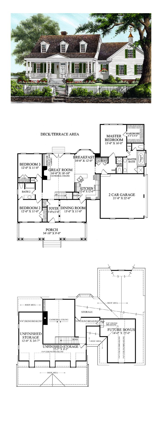 Farmhouse Style COOL House Plan ID: chp-47674 | Total Living Area: 1942 sq. ft., 3 bedrooms and 2.5 bathrooms. #farmhouseplan