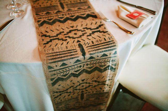southwestern table runner // green wedding shoes / New Jersey Vineyard Wedding: Kirby + Matt