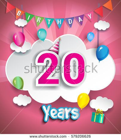 20th Anniversary Celebration Design, with clouds and balloons. using Paper Art Design Style, Vector template elements for your, twenty years birthday celebration party.