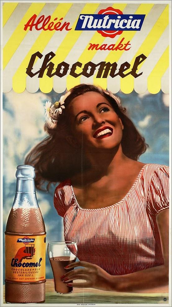 Oude Nederlandse reclameposters Nutricia Chocomel 1949