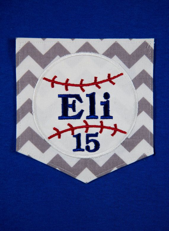 Short Sleeve Chevron Pocket T-shirt with Appliqued Baseball, Name and Number. Perfect for Baseball Moms or Grandmothers! on Etsy, $20.00
