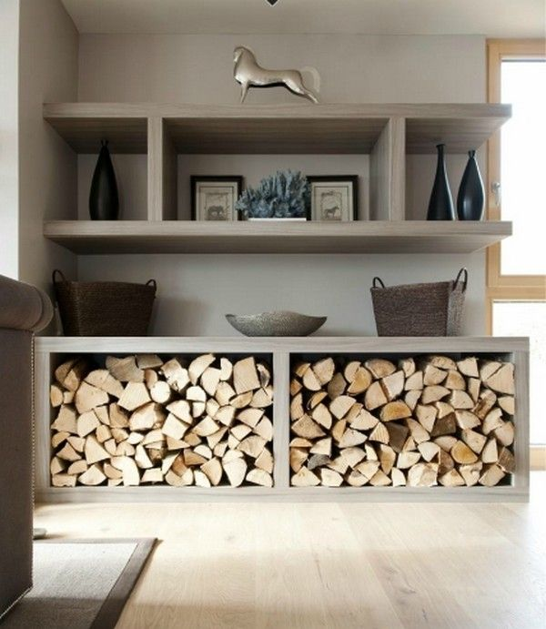 Decorative and useful way to store your wood for the cold winters