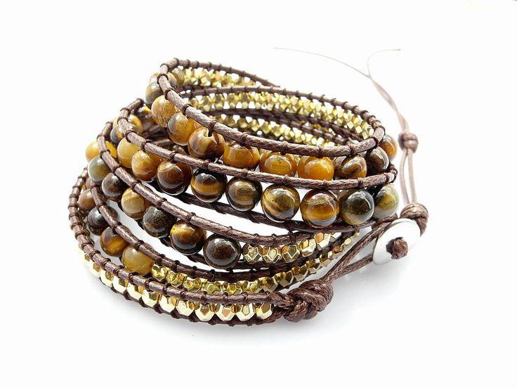 2016 6mm tiger eye bead strand bracelet new design handmade beaded strand imitation leather bracelets for men and women 5pcs/Lot