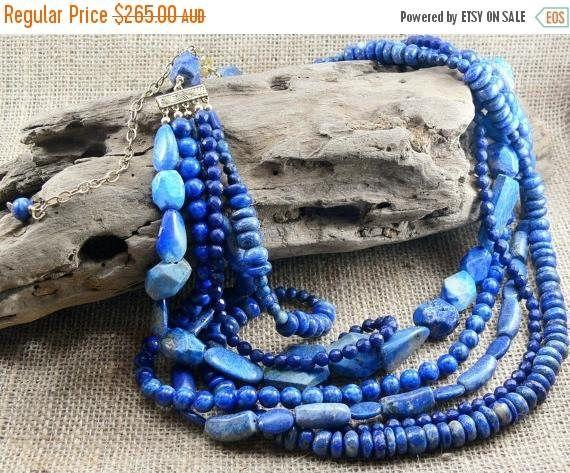 SALE 20% OFF  LAPIS Blue Statement Necklace  Denim blue