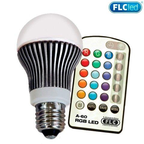 Lampada RGB LED A-60, 16 Cores, 5W, com Controle Remoto, 04040082 - FLC - Eletronica-Santana