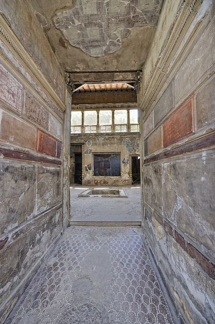 *HERCULANEUM ~ most famous for having been lost, along w/ Pompeii, Stabiae + Oplontis, in the eruption os Mount Vesuvius beginning on August 24, 79 A.D. , which buried them in super heated pyroclastic material that has solidified into volcanic tuff. It also became famous as the source of the 1st Roman skeletal + physical remains available for study that were located by science, for the Romans almost universally cremated their dead.