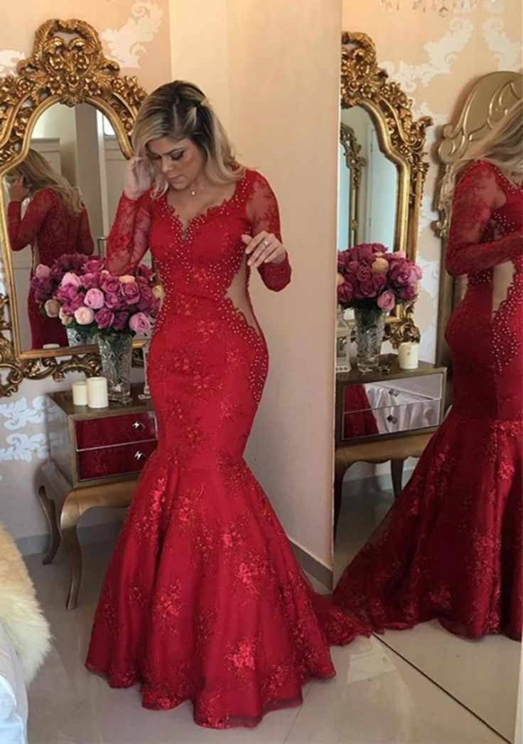 Sexy Red Prom Dresses,2017 Prom Dress,Lace Prom Dress,Mermaid Prom Dresses,Evening Dresses,Long Sleeves Evening Prom Gowns,Lace Evening Gowns