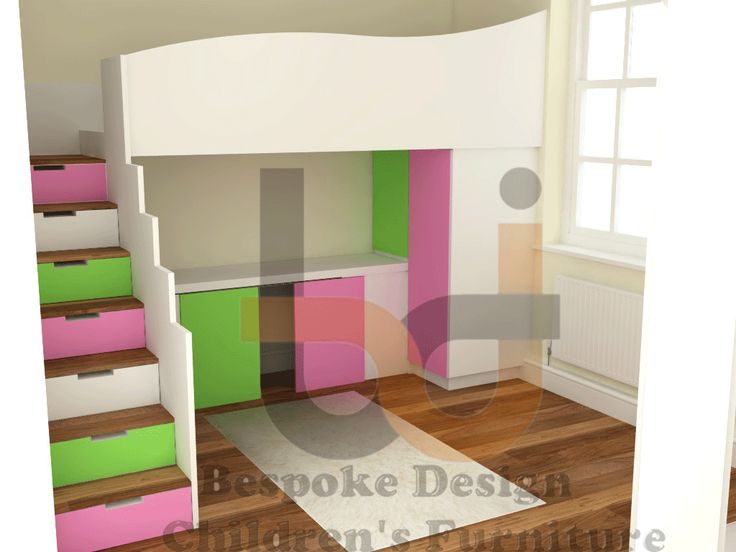 Candy Stripe high sleeper bed with storage stairs and under bed storage. Hand crafted Bespoke Design Interiors - info@bdikent.co.uk