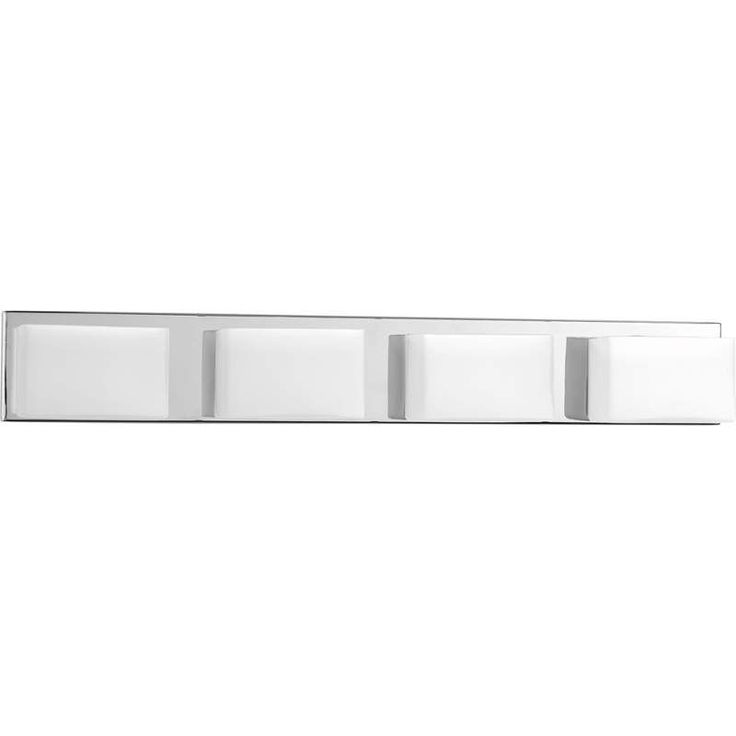 """View the Progress Lighting P2145-1530K9 Polished Chrome Ace LED 4 Light 5"""" Tall ADA Compliant Vanity Strip with Etched Glass Shades at Build.com."""
