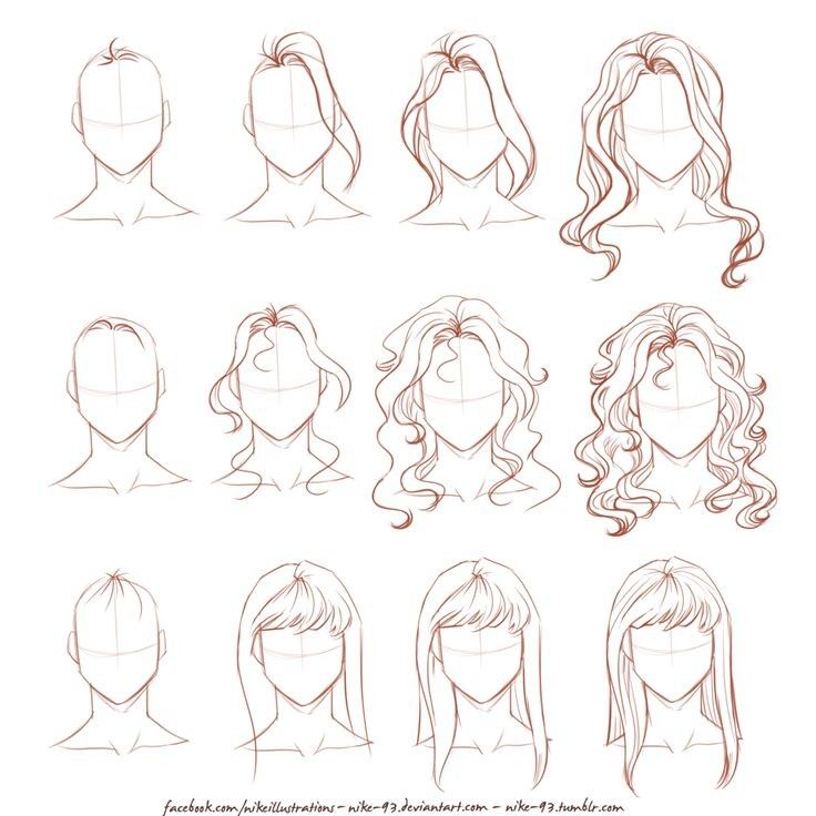 Pin By Juliana Cruz On How 2 Draw How To Draw Hair Face Drawing Long Hair Drawing