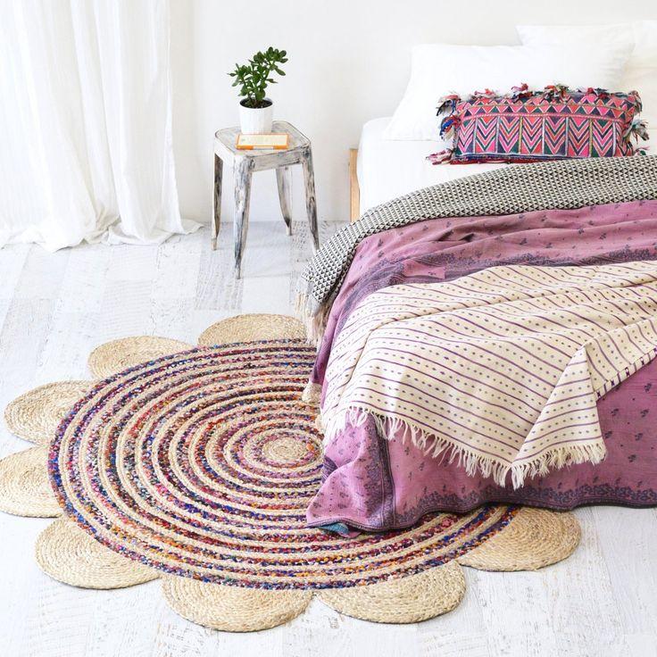Indian Jute Rug, Indian Braided Jute Rag Rugs, 3 feet