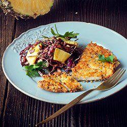 PANIERKA - kasza 4 łyżki kaszy jaglanej lub mąki jaglanej, 2 łyżki posiekanej natki pietruszki, 1/2 szklanki tartego twardego długodojrzewającego sera, szczypta startej skórki z cytryny, sól i pieprz