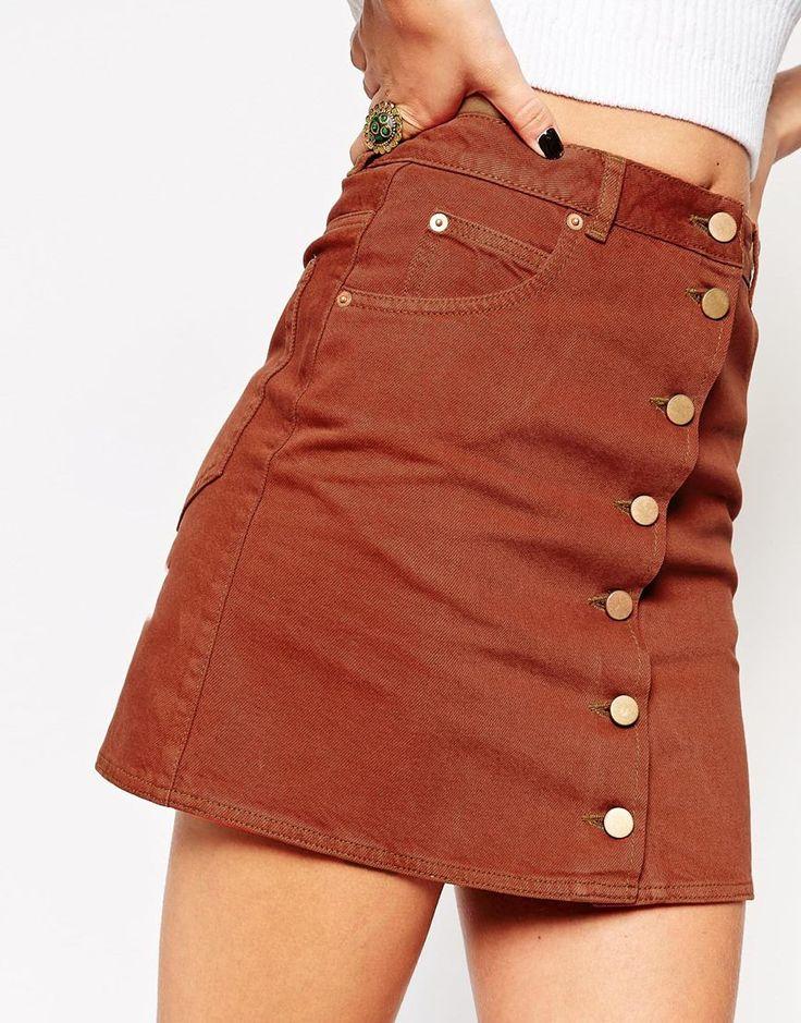 image 3 of asos denim dolly a line button through mini skirt in rust skirt pinterest asos. Black Bedroom Furniture Sets. Home Design Ideas