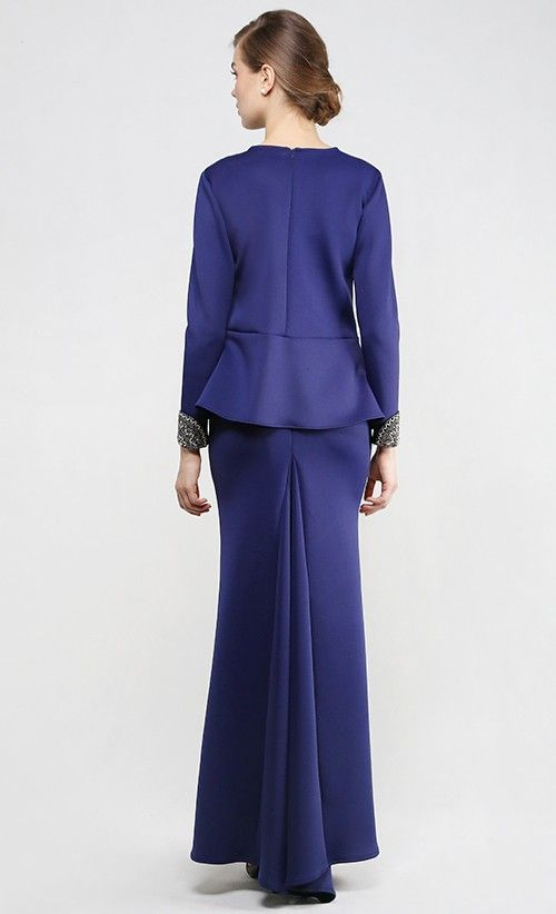 Her Majesty Modern Kurung Set in Navy Blue | FashionValet