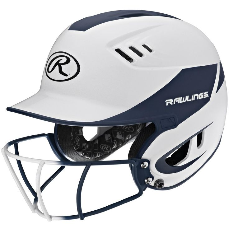 Rawlings Velo Junior 2-Tone Home Softball Helmet w-Mask-Navy