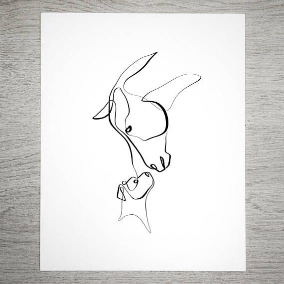 Horse and Dog | One Line Art | Equine Art | Single Line Drawing | Calligraphy | Horse Art | Dog Art | Equine poison | Horse Lover | Pet poison
