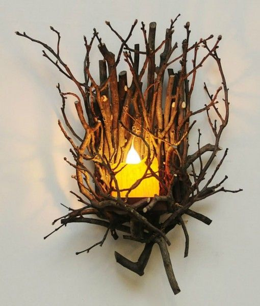 Twig Wall Sconce Made From Real Branches