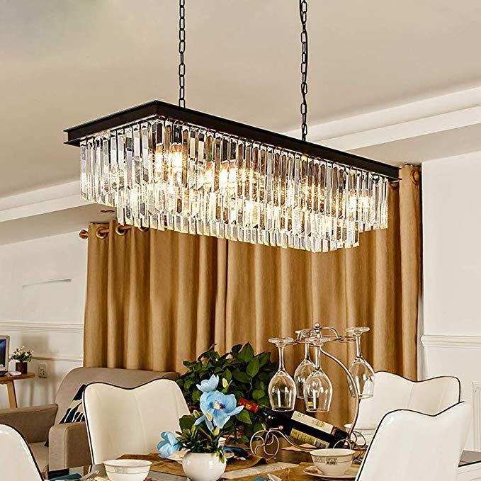 Meelighting L39 4 W10 2 Gold Rectangle Modern Crystal Chandeliers Lighting Penda In 2020 Rectangular Chandelier Crystal Chandelier Lighting Chandelier In Living Room